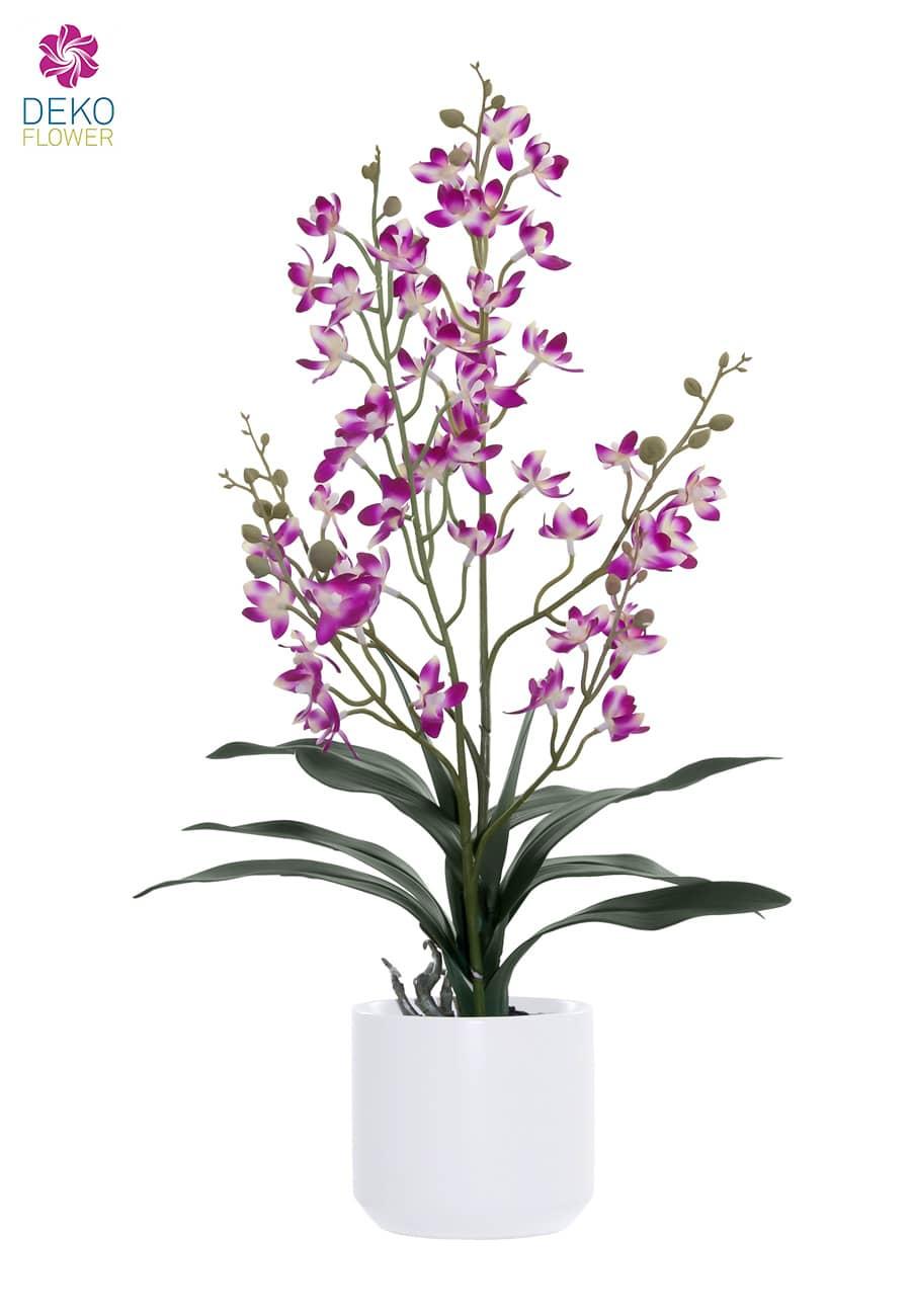 Cymbidium Kunstorchidee pink 58 cm im Porzellan Kübel