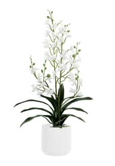 Cymbidium Kunstorchidee weiß 58 cm im Porzellan Kübel
