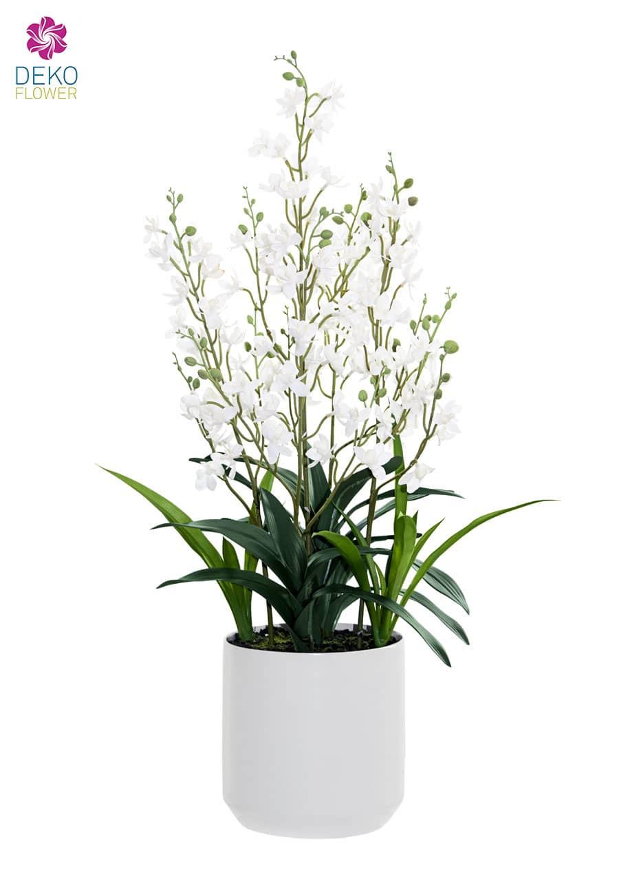Künstliche Cymbidium Orchidee weiß 76 cm im Porzellan Kübel