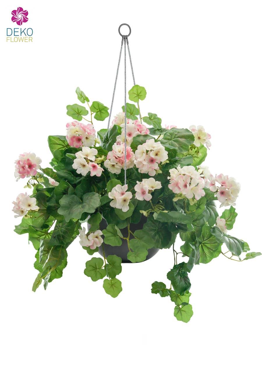Geranien Kunstblumen in Hängeampel 45 cm weiß rosa