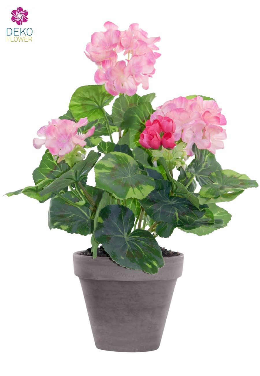 Künstliche Geranien Topfblumen rosa 33 cm
