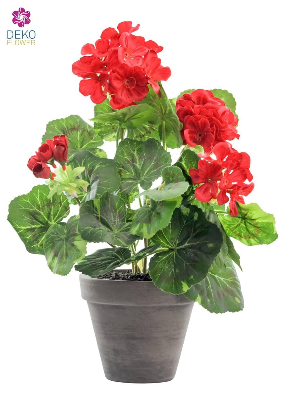 Künstliche Geranien Topfblumen rot 33 cm