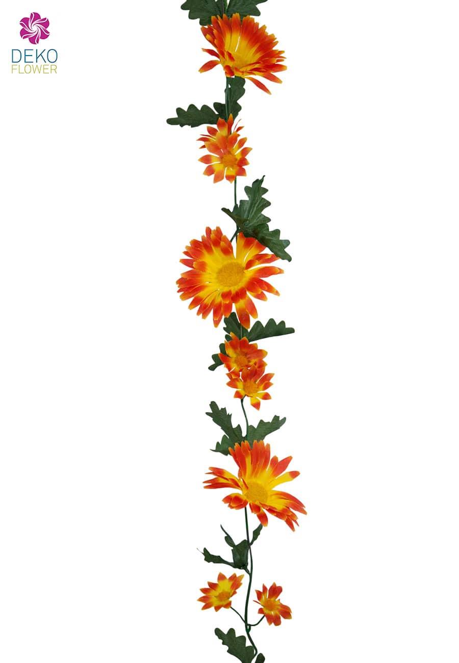 Künstliche Gerbera Blumengirlande orange 170 cm