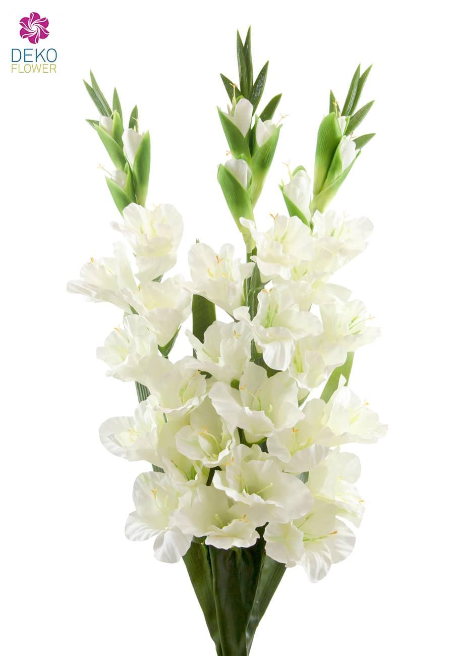 Gladiolen Kunstblumen weiß 100 cm 3er Set