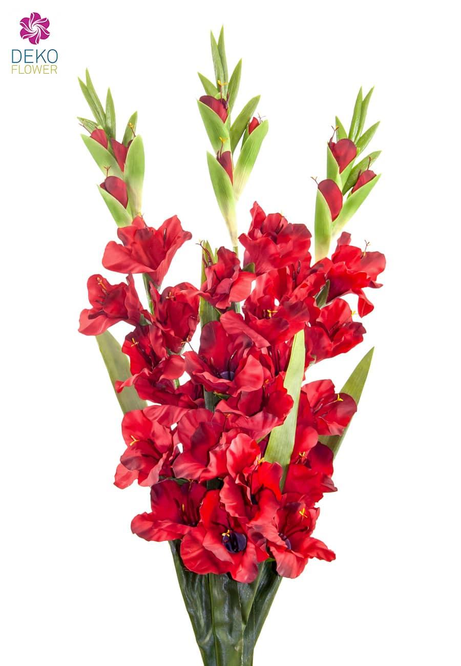 Gladiolen Kunstblumen rot 100 cm 3er-Set