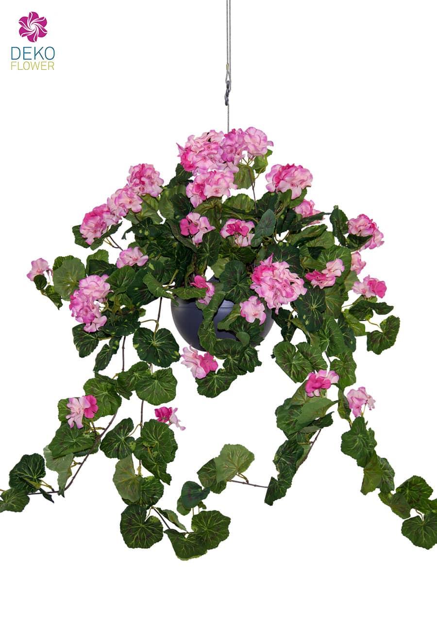 Künstliche Hängegeranien 75 cm rosa in Ampel