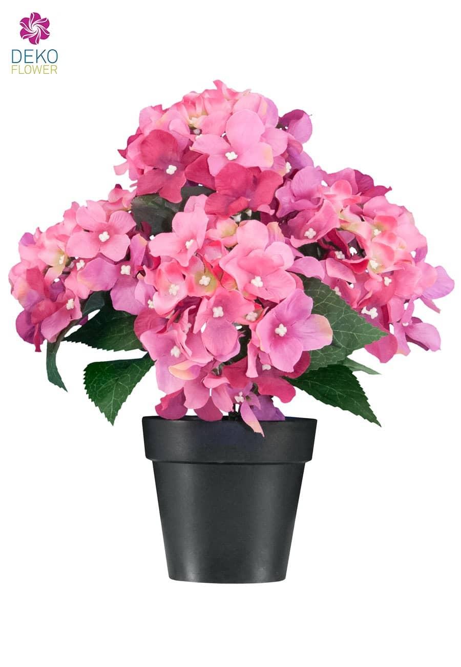 kunstblumen hortensien in pink 27cm getopft. Black Bedroom Furniture Sets. Home Design Ideas