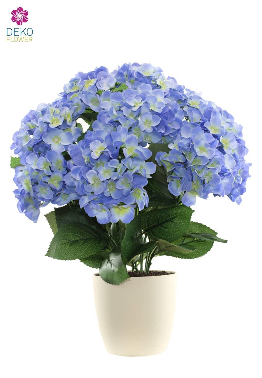 Künstliche Hortensien 53 cm blau getopft