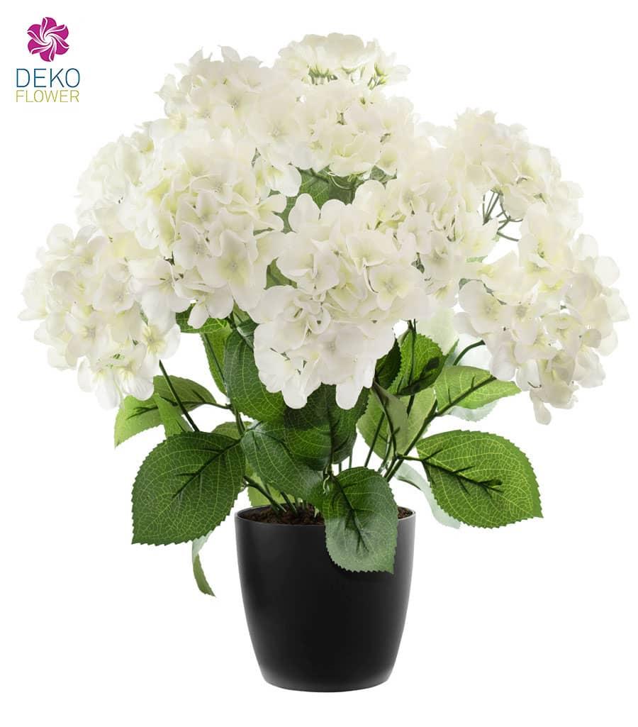 Künstliche Hortensien 53 cm weiß getopft