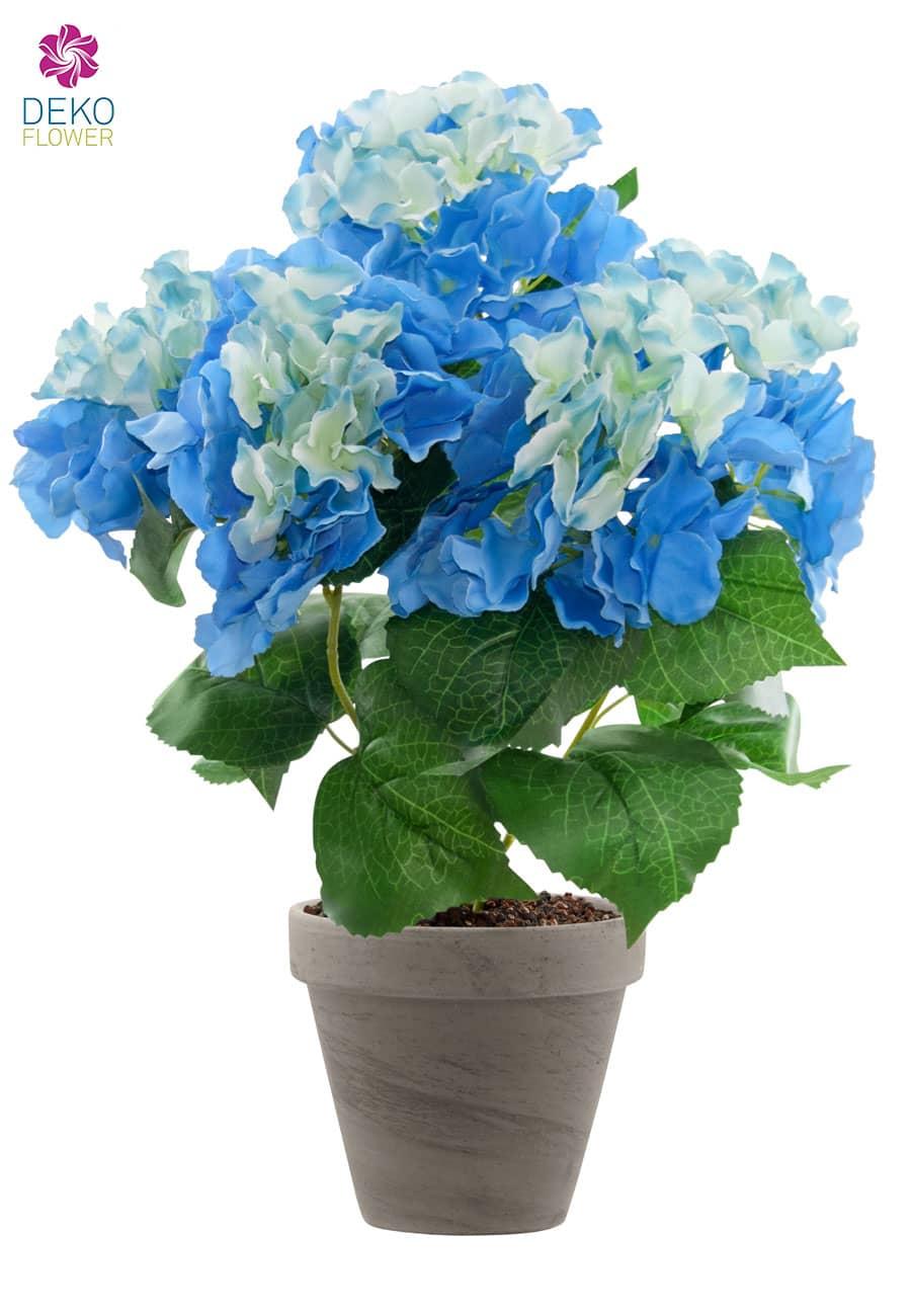 Hortensien Kunstpflanze blau 47 cm im Topf