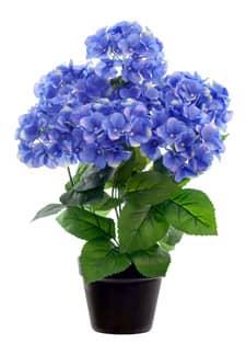 Künstliche Hortensien blau 56 cm getopft