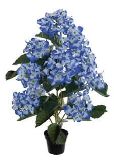 Künstliche Hortensien im Topf 70 cm blau