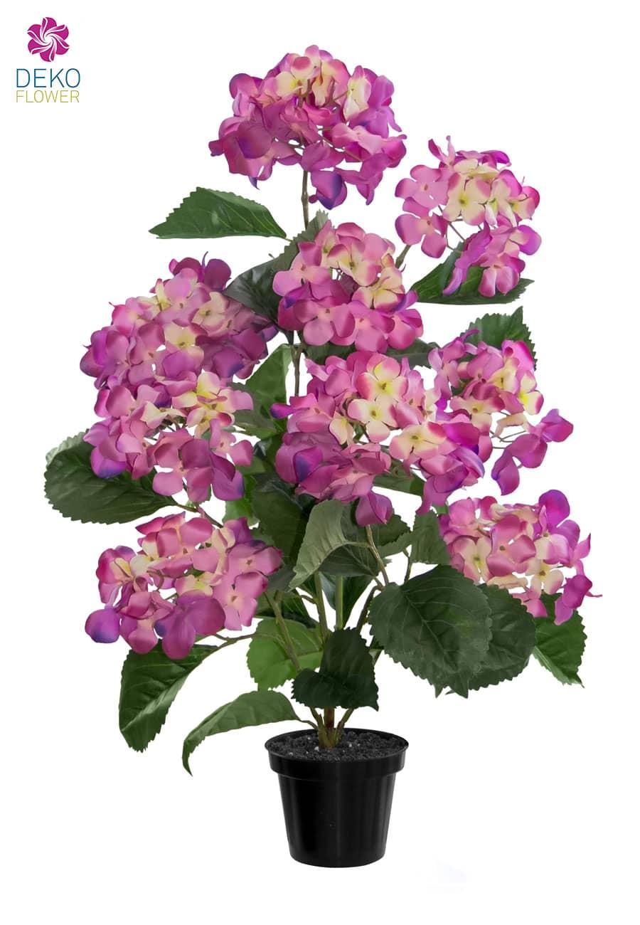 Künstliche Hortensien im Topf 70 cm pink
