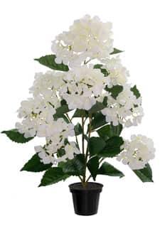 Künstliche Hortensien im Topf 70 cm weiß