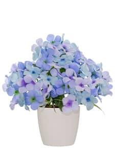 Künstliche Hortensien im Topf blau 29 cm