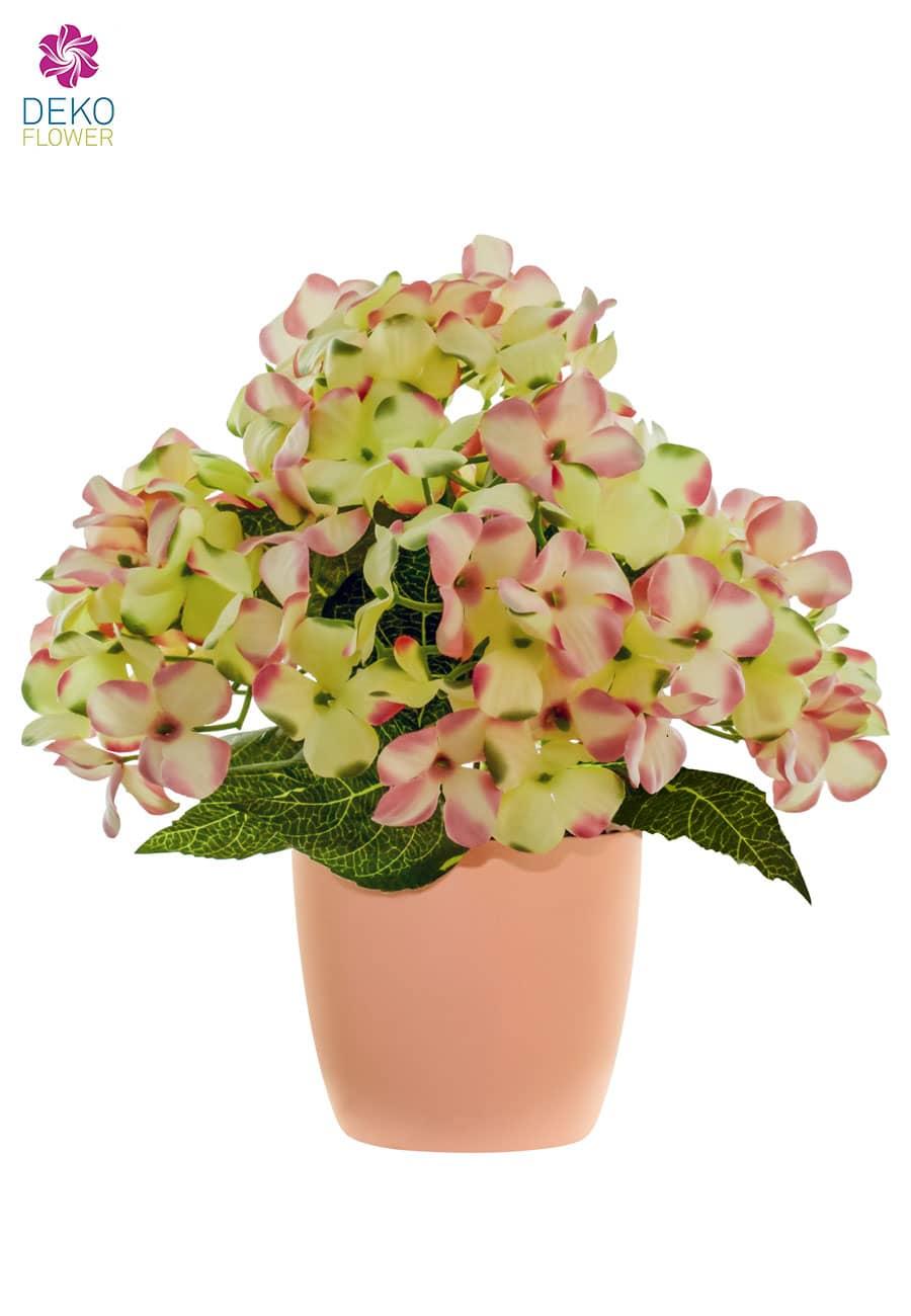 Künstliche Hortensien im Topf rosa 29 cm