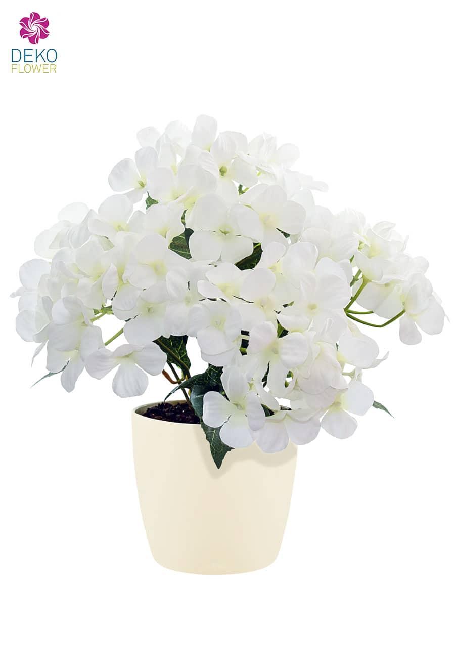 Künstliche Hortensien im Topf weiß 29 cm