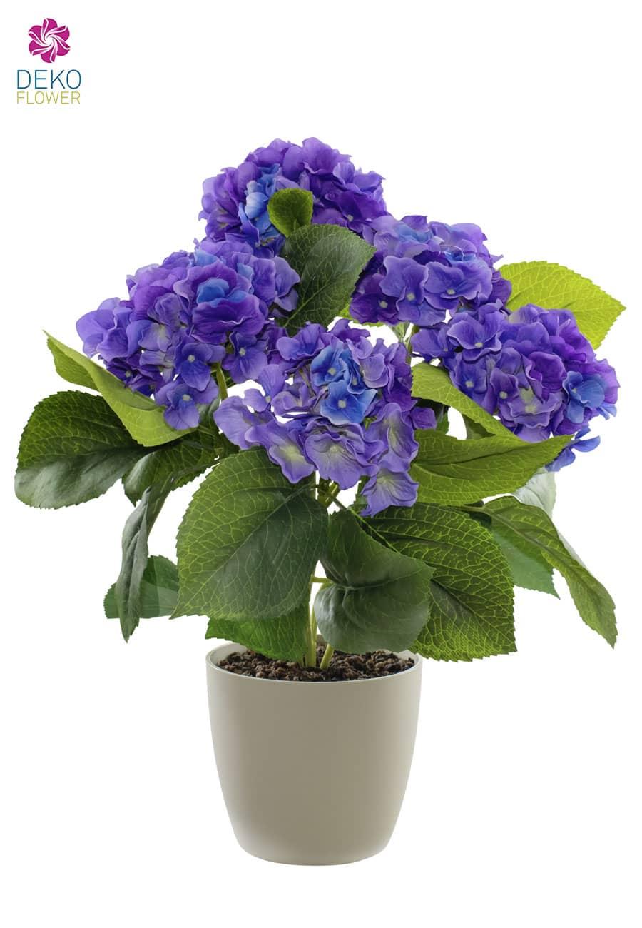 Künstliche Hortensien Pflanze blau 43 cm