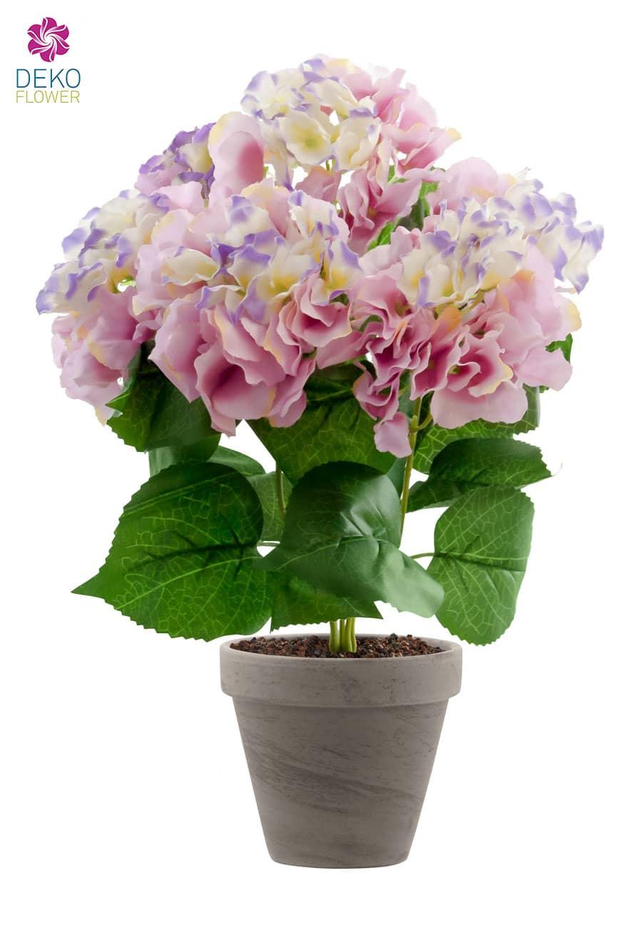 Hortensien Kunstblumen pink 47 cm im Topf