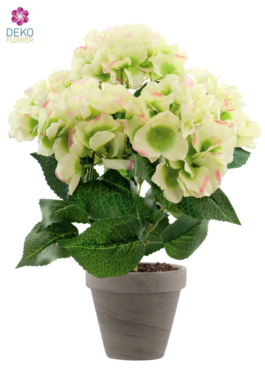 Hortensien Kunstpflanze hellgrün 47 cm im Topf