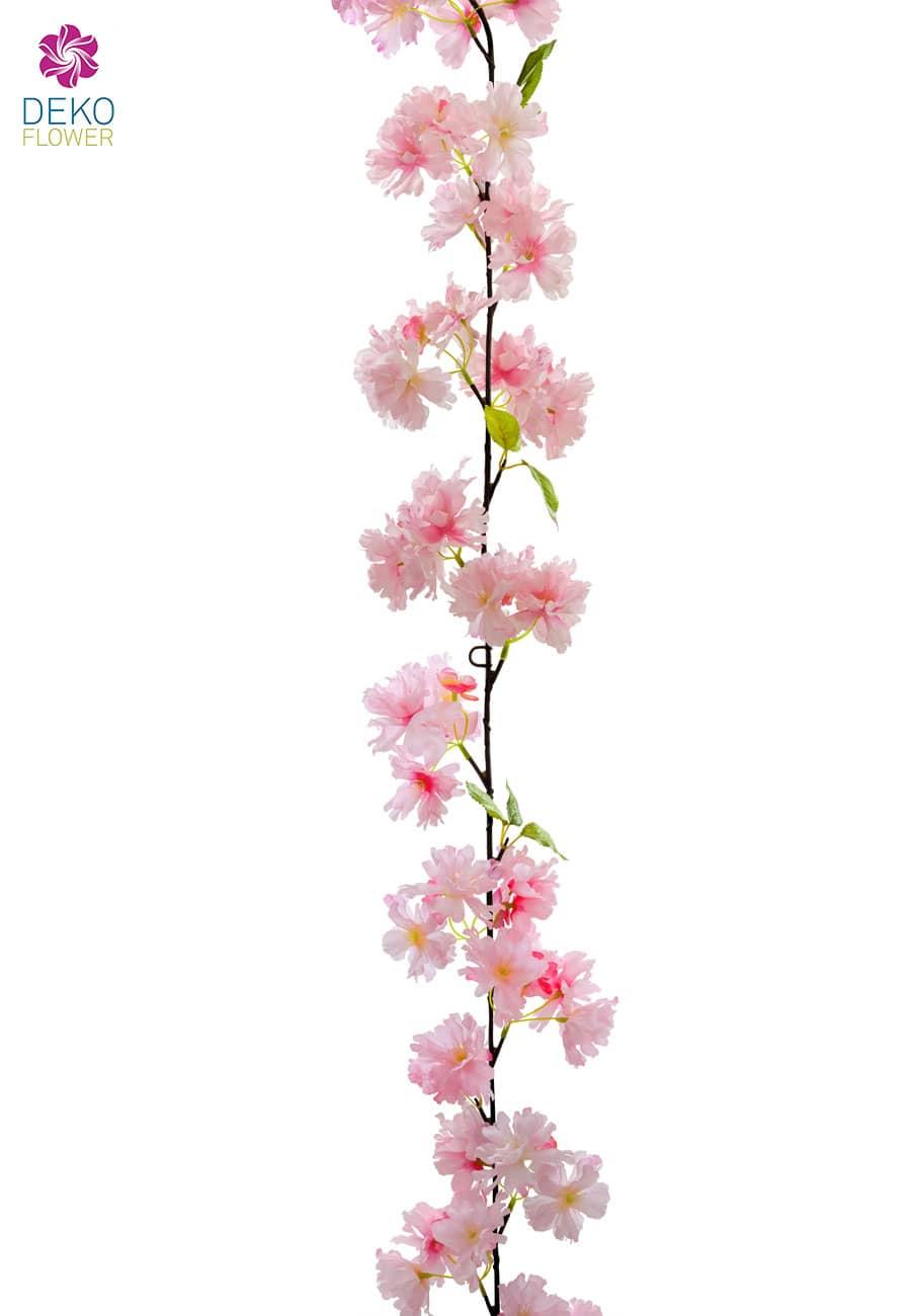 Künstliche Kirschblüten Blumengirlande 180 cm rosa
