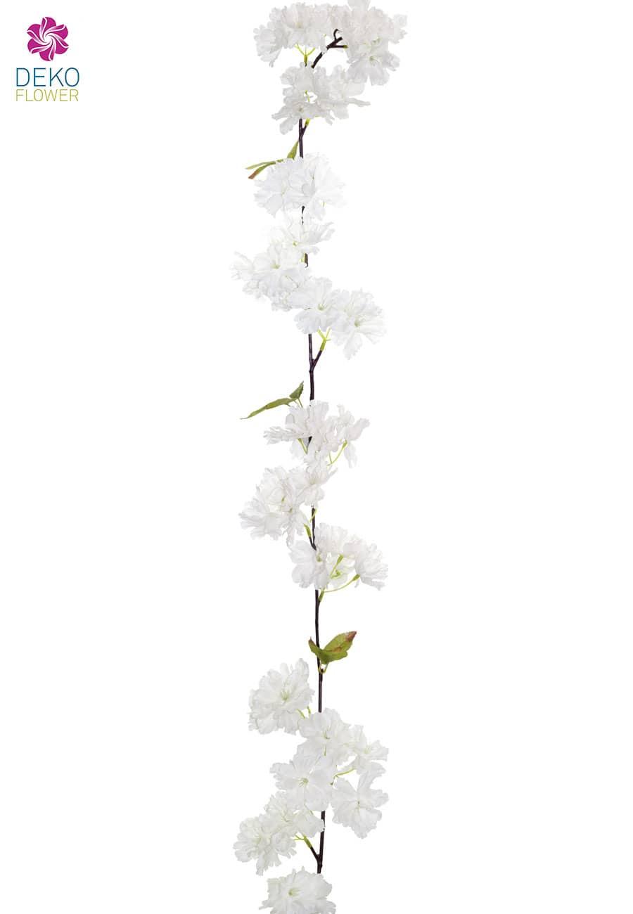 Künstliche Kirschblüten Blumengirlande 180 cm weiß
