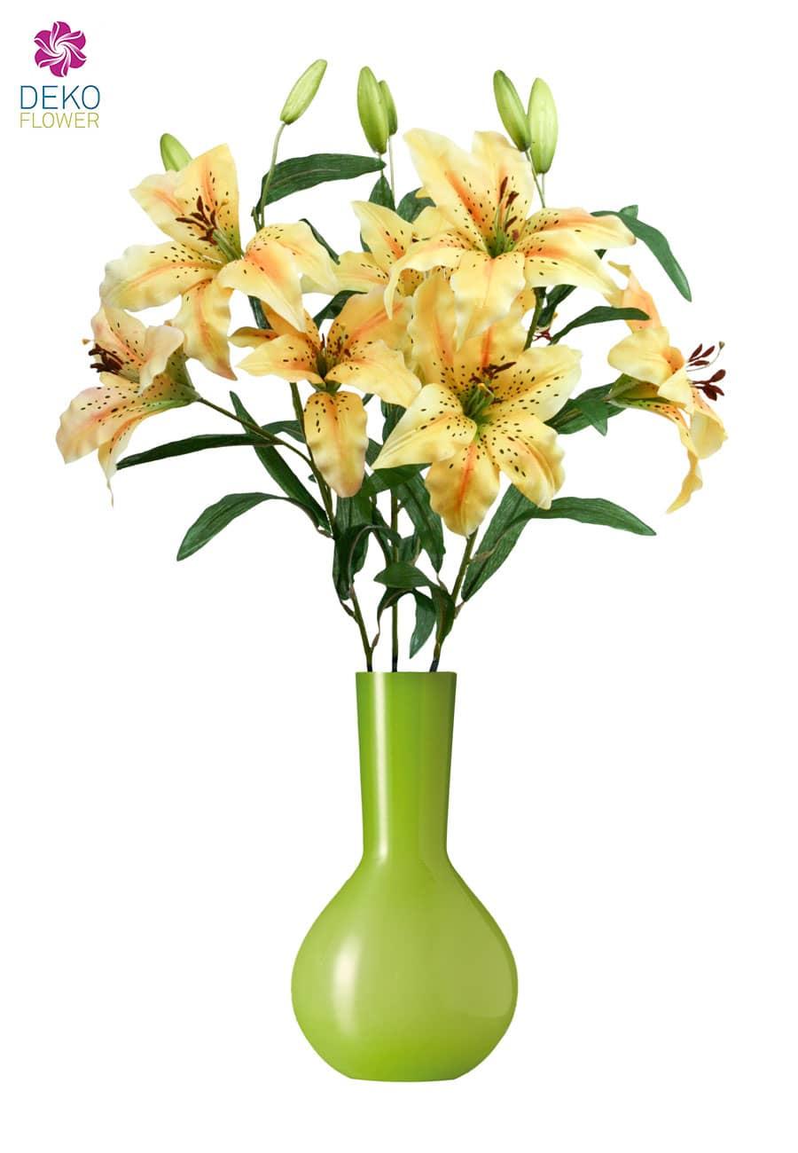 Künstliche Lilien 80 cm gelb 3er Pack