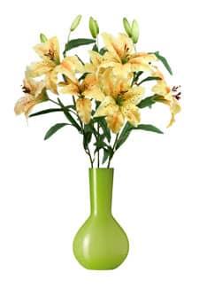 Künstliche Lilien gelb 80 cm 3er-Pack