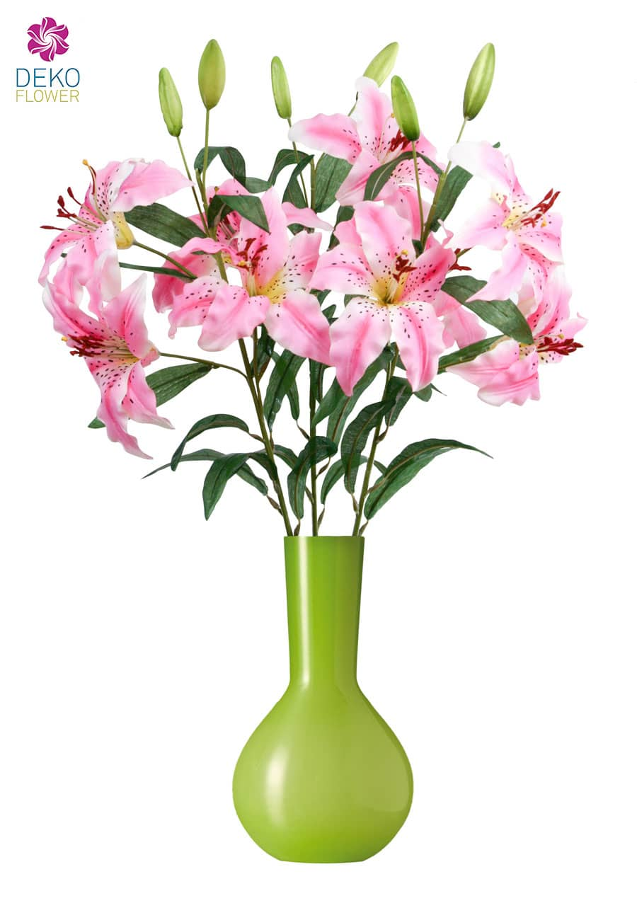 Künstliche Lilien 80 cm rosa 3er Pack