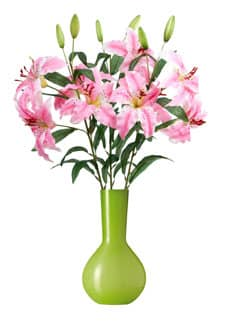 Künstliche Lilien rosa 80 cm 3er-Pack