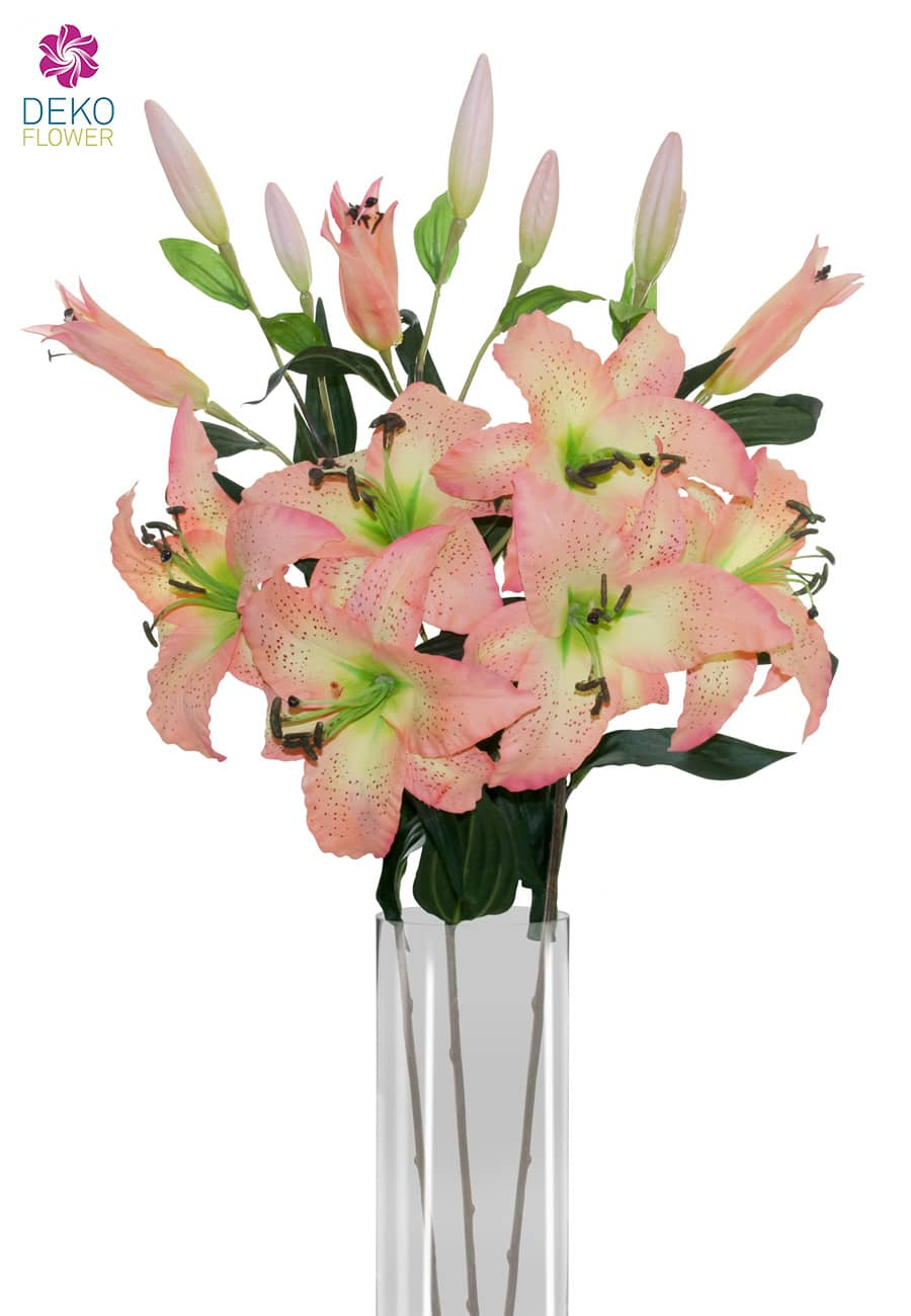 Künstliche Lilien apricot 85 cm, 3er-Pack
