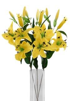 Künstliche Lilien sonnengelb 85 cm 3er-Pack