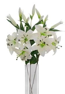 Weiße Lilien 85 cm 3er Pack