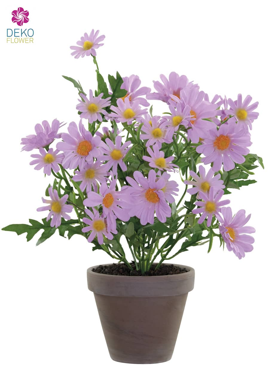 Künstlicher Margeritenbusch lila 39 cm im Tontopf