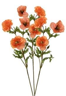 Künstliche Mohnblumen 3er Set 71 cm orange