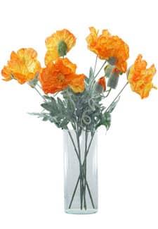 Künstliche Mohnblumen orange 45 cm 6er-Pack