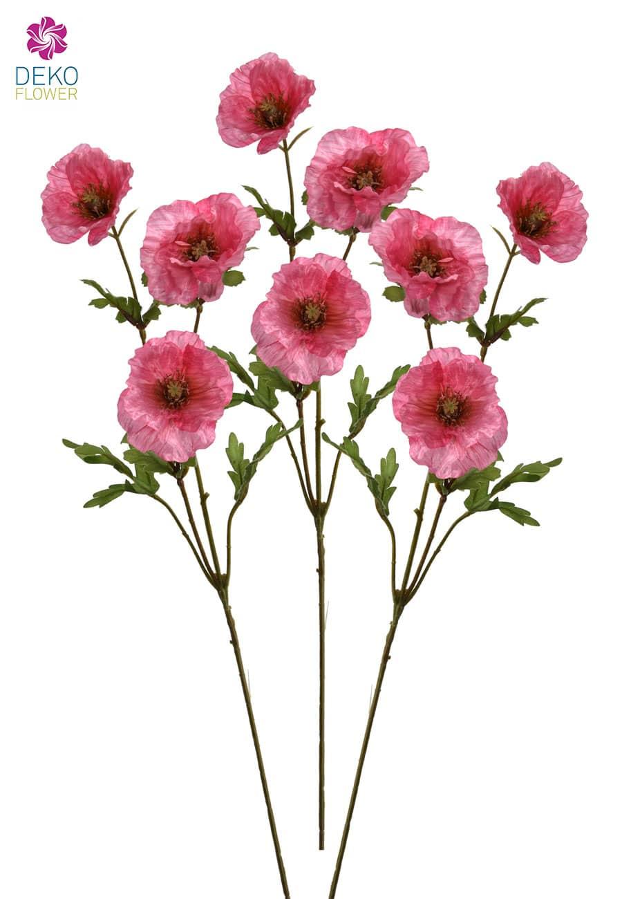 Künstliche Mohnblumen 71 cm rosa 3 Stück