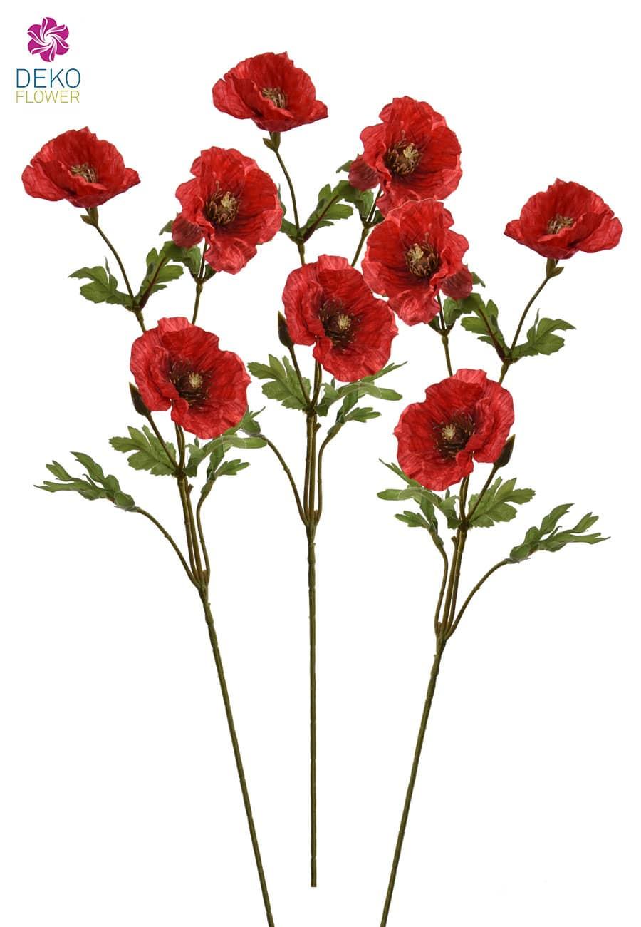 Künstliche Mohnblumen rot 71 cm 3er Set