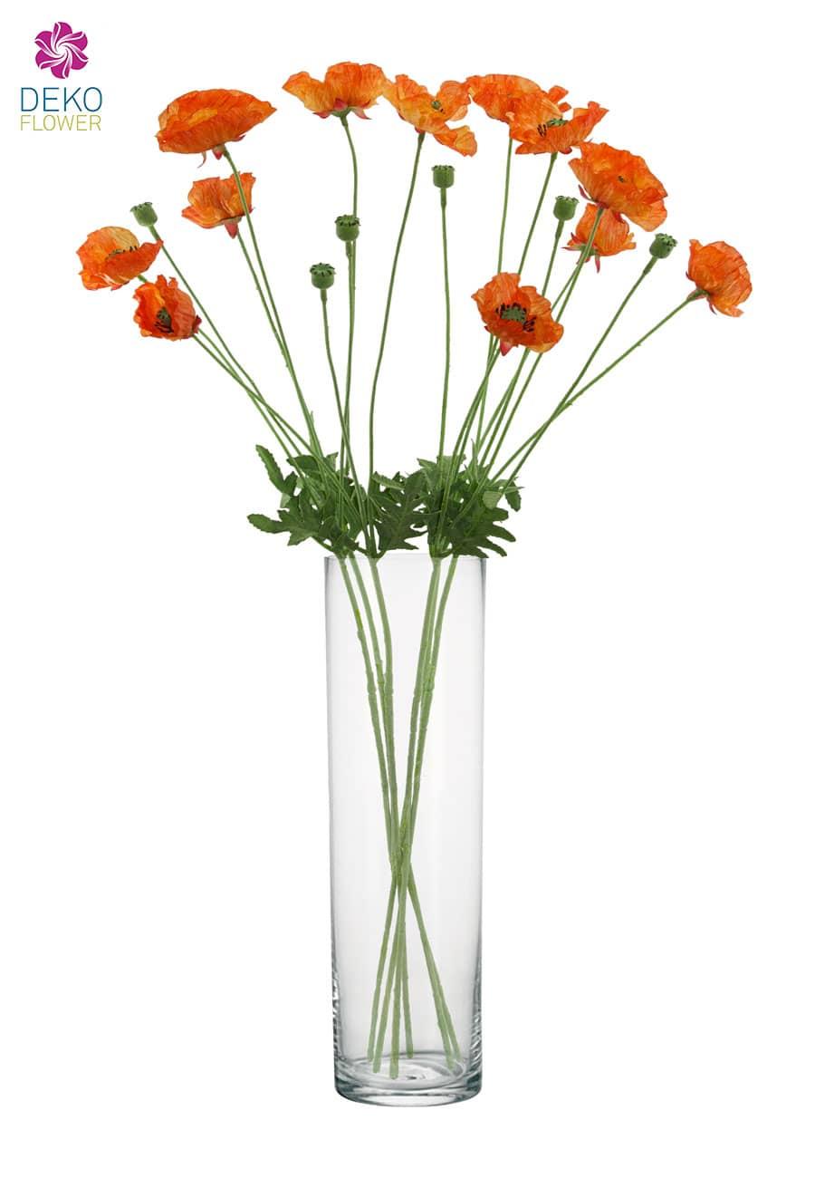 Künstliche Mohnblumen orange 79 cm 6er Pack