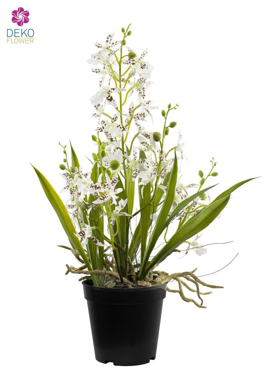 Künstliche Oncidium Orchidee weiß 48 cm