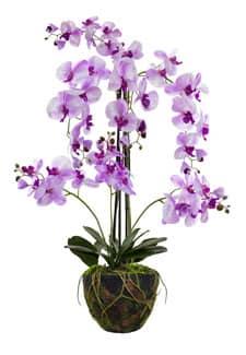 Künstliche Orchidee 120 cm lavendel in Erdballen