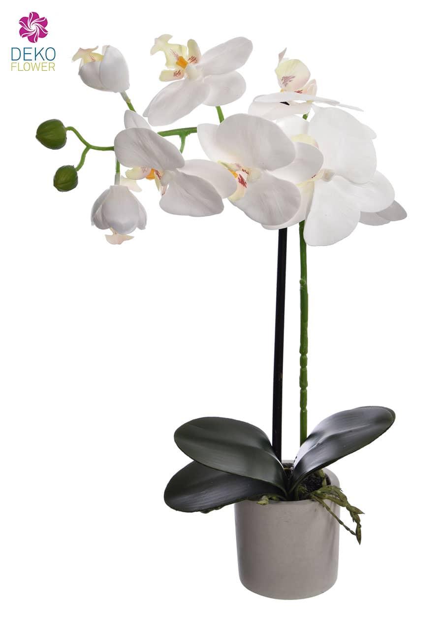 Künstliche Orchidee 38 cm weiß im Topf