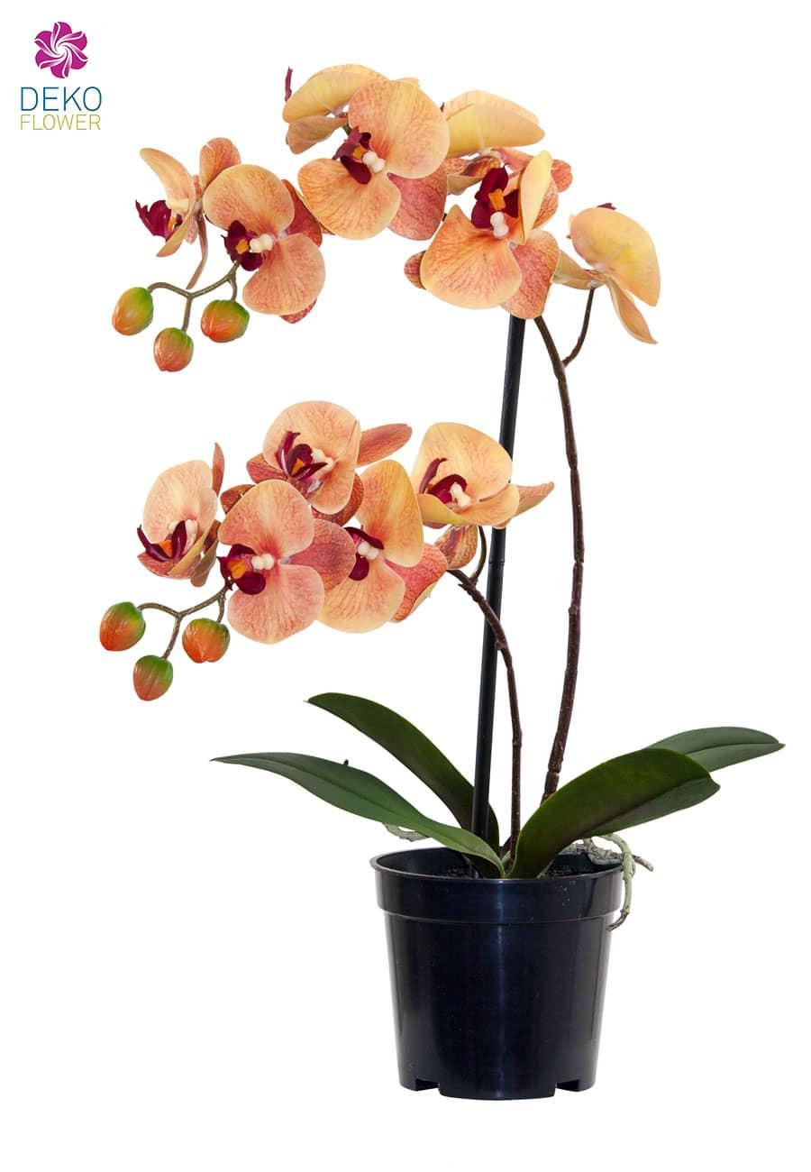 Künstliche Orchidee orange rot 41 cm im Topf