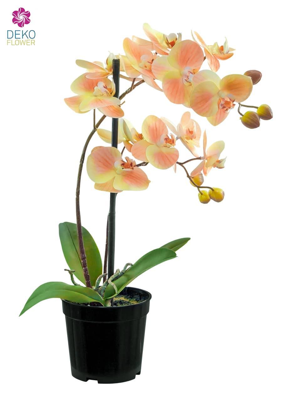 Künstliche Orchidee pfirsichgelb 41 cm im Topf