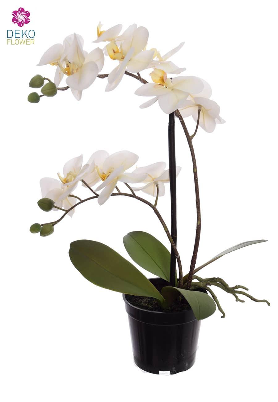 Künstliche Orchidee weiß 41 cm im Topf