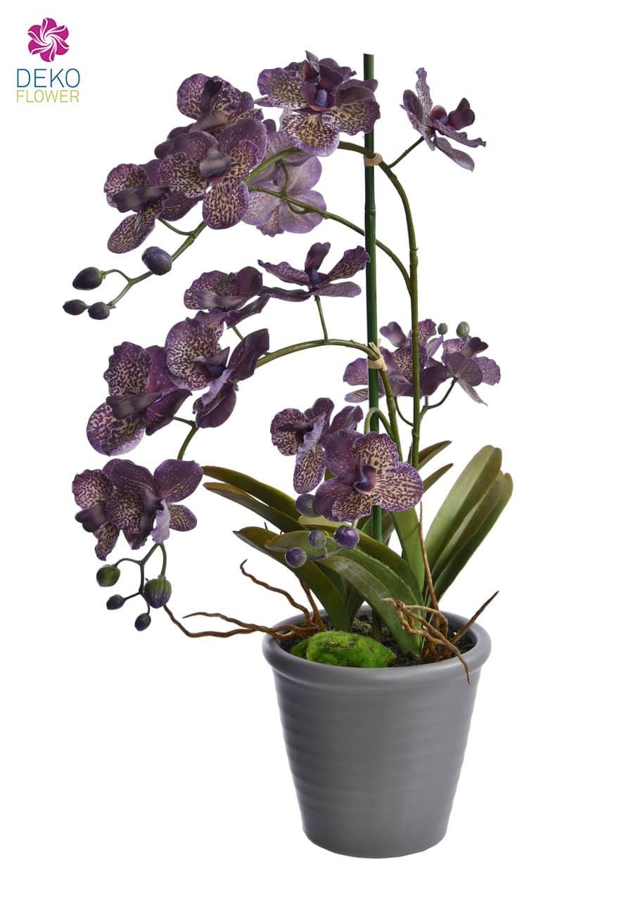 Künstliche Orchidee 62 cm violett getopft