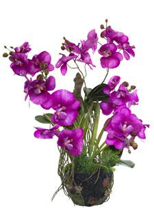 Künstliche Orchidee an Baumwurzel magenta 63 cm