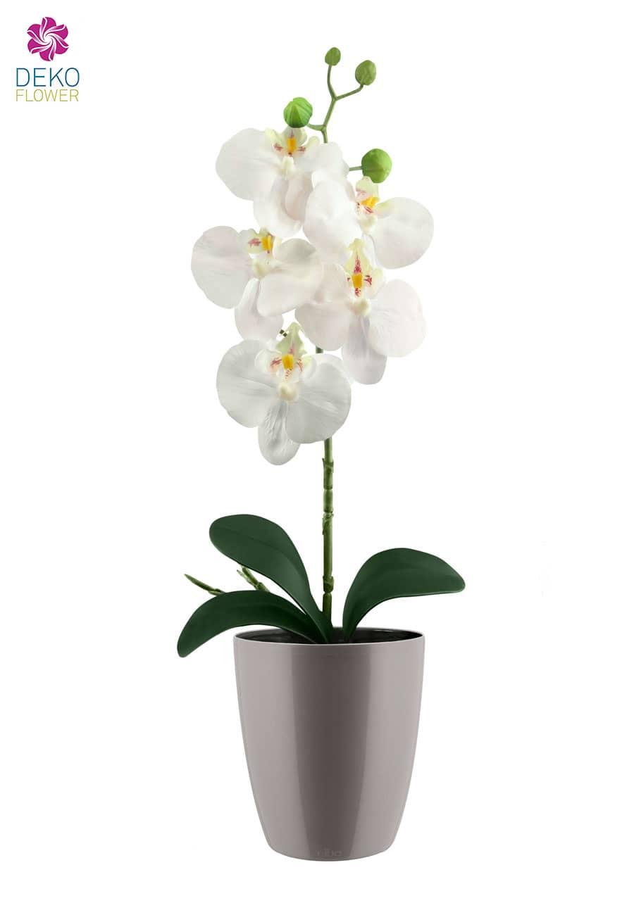 k nstliche orchidee wei 45 cm im bertopf. Black Bedroom Furniture Sets. Home Design Ideas
