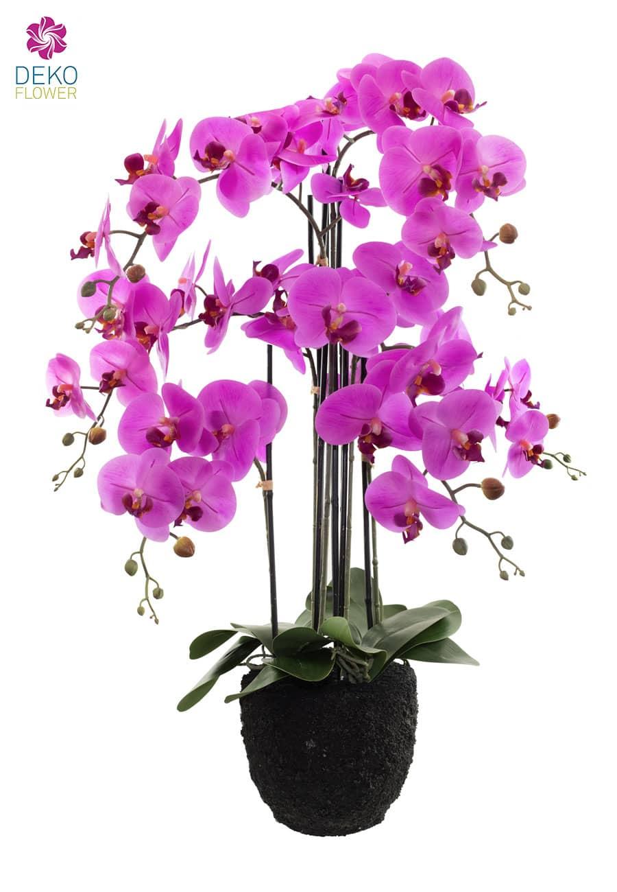 Künstliche Orchidee mit Erdballen 89 cm pink