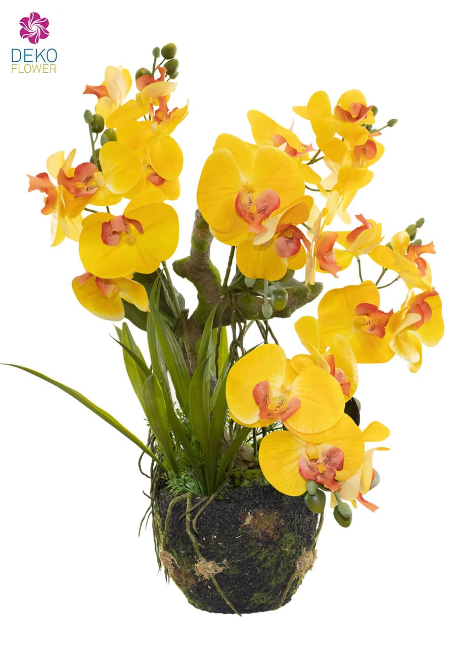 Künstliche Orchidee 63 cm gelb mit Baumwurzel